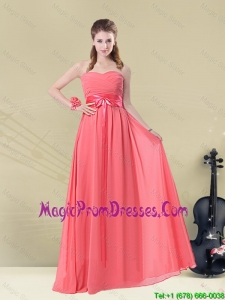 Sweetheart Watermelon Long Prom Dress with Bow Belt
