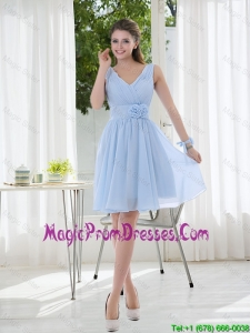 V Neck Chiffon Prom Dress with Ruching and Hand Made Flowers