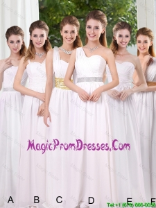 White Ruching Empire Prom Dress for 2016