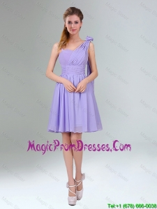 2016 Gorgeous Mini Length Lavender Prom Dress with Ruching and Handmade Flower
