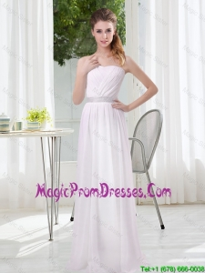 2016 Simple Empire Ruching Prom Dresses in White