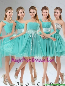 2016 A Line Ruching Lace Up Prom Dress in Aqua Blue