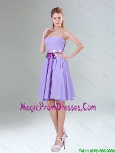 2016 Decent Lavender Ruched Mini Length Prom Dress with Bowknot Sash