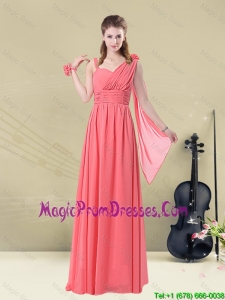 2016 Fashionable Stunning Asymmetrical Column Ruched Prom Dress
