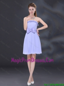 2016 Lavender A Line Strapless Prom Dress with Bowknot