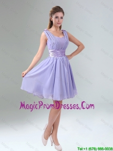 2016 Perfect Straps Lavender Ruched Mini Length Prom Dress with Waistband