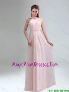 Romantic 2016 High Neck Chiffon Light Pink Prom Dress