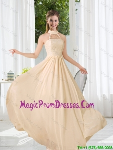 2016 Halter Empire Fashionable Prom Gowns with Lace