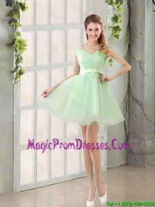 2016 Natural Organza A Line Belt Fashionable Prom Dress