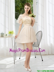 2016 Lace High Low Short Sleeves Fashionable Prom Gowns with One Shoulder