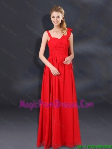2016 Ruching Empire Fashionable Prom Gowns with Asymmetrical
