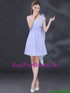 Chiffon Ruching 2016 Lavender Fashionable Prom Gowns with One Shoulder