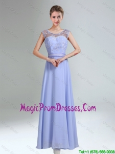 2016 Lavender Scoop Belt and Lace Empire Fashionable Prom Gowns