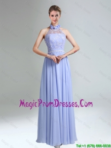 Belt and Lace Halter Empire Lace Up Fashionable Prom Gowns for 2016