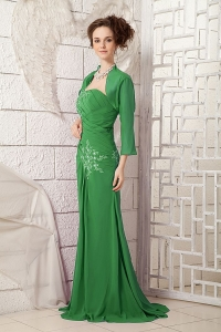 low Price One Shoulder Appliqued Green Long Prom Attire in North Carolina