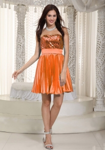 Asheboro USA Pretty Pleated Orange Red Mini Prom Dress with Sequins