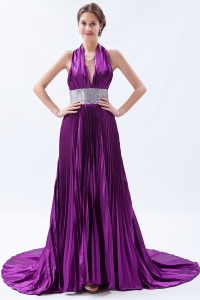Hot Halter Backless Court Train Eggplant Purple Prom Dress in Apex NC