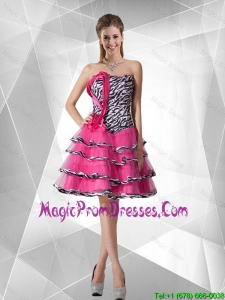 2015 Winter Discount A Line Strapless Zebra Prom Dresses with Ruffled Layers