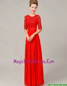 Fashionable Scoop Laced Red Prom Dresses with Half Sleeves