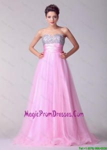 Great Princess Sweetheart Rose Pink Prom Dresses with Brush Train
