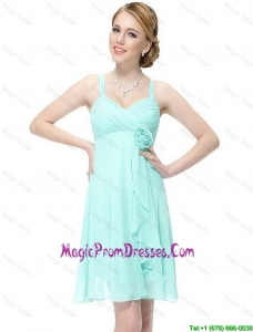 Latest Short Hand Made Flowers Prom Dresses with Straps
