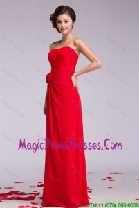 Pretty Strapless Hand Made Flowers Prom Dresses in Red