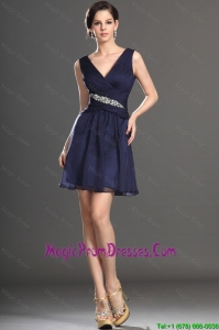 2016 Latest V Neck Short Navy Blue Prom Dresses with Beading