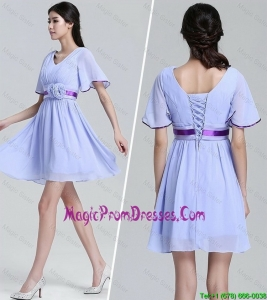 2016 Popular V Neck Short Sleeves Short Prom Dresses with Hand Made Flowers