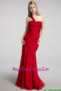 2016 Spring One Shoulder Mermaid Prom Dresses with Ruching