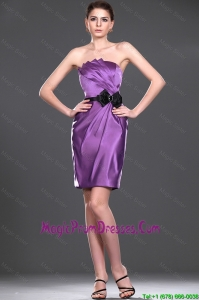 Cheap Eggplant Purple Short Prom Dress with Belt and Bowknot