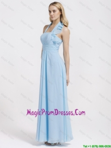 Cheap Halter Top Ruffles and Belt Baby Blue Prom Dresses for 2016