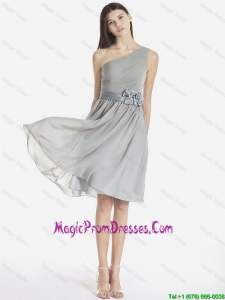 Fashionable One Shoulder Grey Prom Dresses with Bowknot