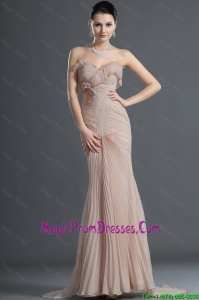 Gorgeous Mermaid Brush Train Pleats Prom Dresses in Champagne