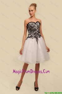 Gorgeous White and Black Prom Dresses with Appliques