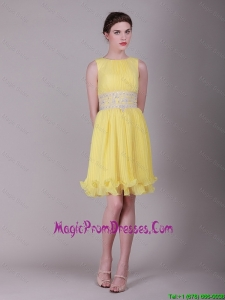 Great Bateau Mini Lengt Beaded Prom Dresses in Yellow