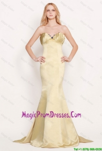 Latest Mermaid Sweetheart Gold Prom Dresses with Brush Train