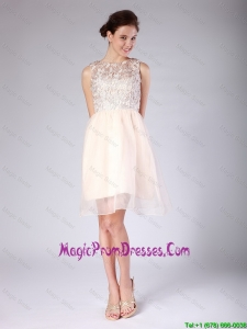 Luxurious Lace Scoop Short Baby Pink Prom Dresses for 2016