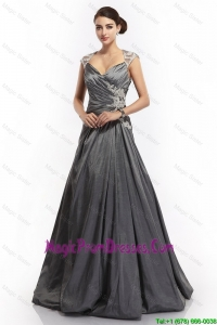 Popular A Line Straps Appliques Prom Dresses with Brush Train
