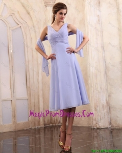 2015 Beautiful V Neck Tea Length Prom Gowns with Ruching