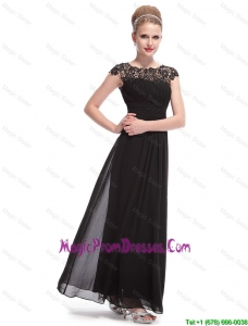 Beautiful Bateau Black Prom Dresses with Lace and Ruching