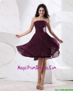 Clasiical Strapless Brown Short Prom Dress with Appliques