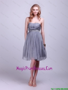 Classical Strapless Short Prom Dresses with Belt and Ruching