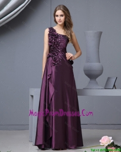 Elegant One Shoulder Beaded Prom Dresses with Hand Made Flowers