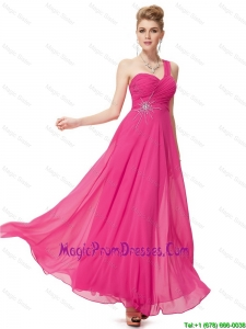 Modern Empire One Shoulder Prom Dresses with Beading