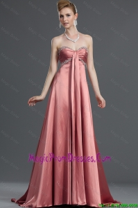 Most Popular Beading Elastic Woven Satin Prom Dresses with Brush Train