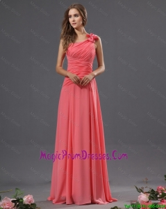 Most Popular One Shoulder Watermelon Prom Dresses with Ruching