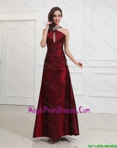 Most Popular Straps Burgundy Prom Dress with Beading for 2016