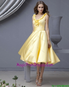 Perfect V Neck Yellow Short Prom Dresses with Ruffles for 2016