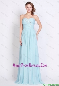 Popular Light Blue Brush Train Prom Dresses with Side Zipper