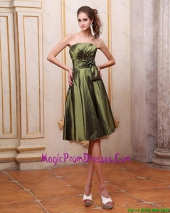 Popular Strapless Short Prom Dresses with Hand Made Flowers